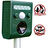 Iwisee Solar Waterproof Animal and Birds Repeller, Electronic Pest Control Repellent with Flashing LED Lights to Scare Away Most Types of Pests (Batteries Included)