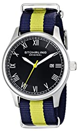 "Stuhrling Original Unisex 522.03 ""Gen X Liberty"" Stainless Steel Watch with Canvass Band"