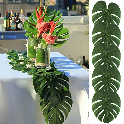 ProCIV Tropical Palm Tree Leaf Decor - 50PCS Tropical Large Palm Tree Leaves Decorations, Artificial Faux Tree Palm Tree Leaves Leaf for Home Hawaiian Luau Safari Jungle Beach Party Decor