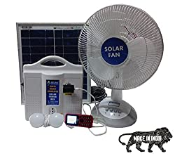 Solarfan Solar Fan Solar Home Lighting System DC 12v by Belifal with 2 LED Bulbs, Solar Table Fan, Electric Charger, Battery included, usb port for mobile charging and 25W solar panel solar inverter