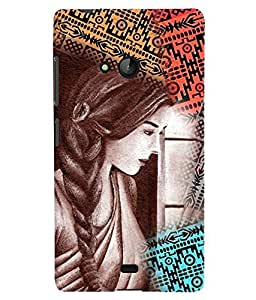 PrintVisa Stylish Cool Girl Colorful 3D Hard Polycarbonate Designer Back Case Cover for Nokia Lumia 540