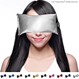 Lavender Eye Pillow - Migraine, Stress Relief - #1 Hot/Cold Yoga Eye Pillow - Made in USA Since 1991 ? 100% Satisfaction Guaranteed ? Filled With French Lavender & Organic Flax Seed. ? The Perfect Gift - Perfect Price ? Eye Pillows By Happy Wraps® (Silver