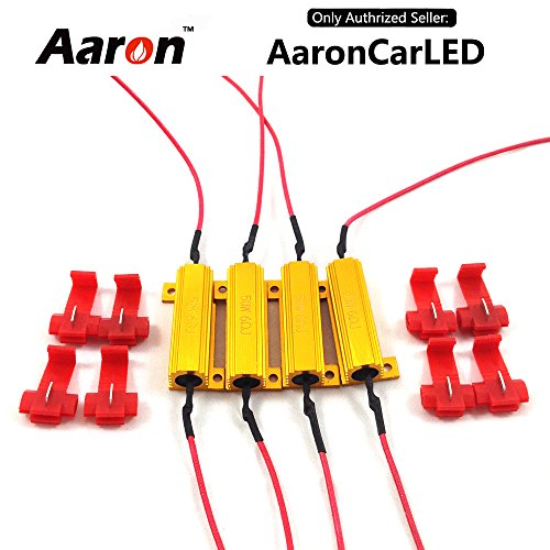 4Pcs Aaron 50W 6ohm Load Resistors - Fix LED Bulb Fast Hyper Flash Turn Signal Blink Error Code