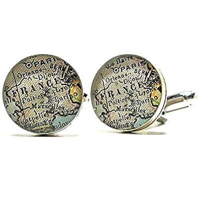Paris France Antique Map Cufflinks