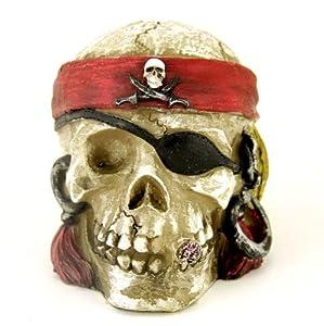 Pirate Skull Coin Piggy Bank, 4.5-inch