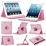 Stuff4 Polkadot Leather Smart Case with 360 Degree Rotating Swivel Action and Free Screen Protector/Stylus Touch Pen for Apple iPad Mini/Mini Retina - Light Pink/White