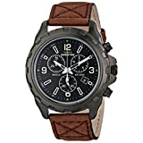 Timex Men's T499869J Expedition Rugged Black Watch with Brown Strap