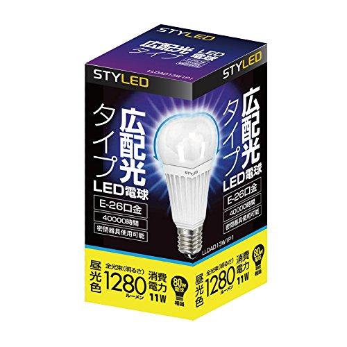 STYLED LED電球 E26口金 一般電球 広配光タイプ 11.0W 1280lm (昼光色相当・密閉器具対応・電球80W相当) LLDAD13W1P1