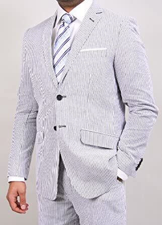 Classy Men's Seersucker White and Gray Stripe Two Button Suit (36 Regular)