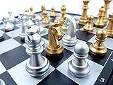 Amateras マグネットチェス 31cm 大型サイズ 磁石 本格 大型 チェスセット チェス盤 国際 金銀駒 折り畳み式 チェスボード 便利な 収納ケース型 オリジナル 日本語説明書付