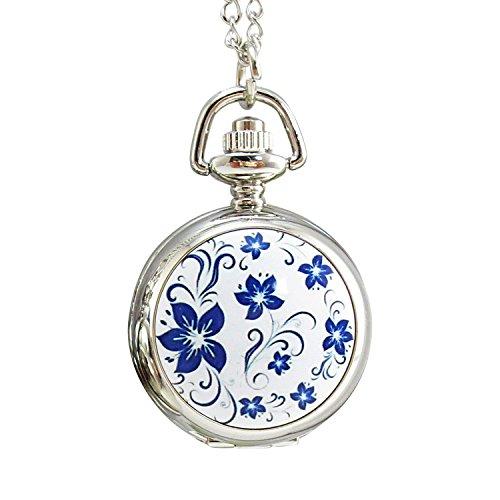 [モノジー] MONOZY ネックレス 時計 - 小さな 花柄 懐中時計 - 鏡付き ペンダント ウォッチ 収納袋 おしゃれ ふた付き チェーン ネックレス時計 (白)