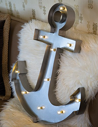 Metal Lighted LED, Nautical Anchor Sign Wall Décor, Battery Operated