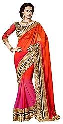 Vaidehi Fashion Women's Velvet Saree (Orange)