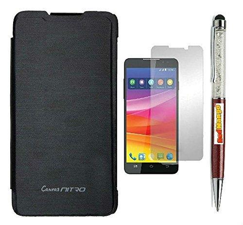 RedMango Flip Cover Case for Micromax Canvas Nitro A311 - Black + Free Crystal Diamond Touch Screen Stylus Pen + Screen Protector