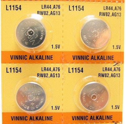 Vinnic Lot de 4 piles alcalines AG13 LR44 A76 1,5 V