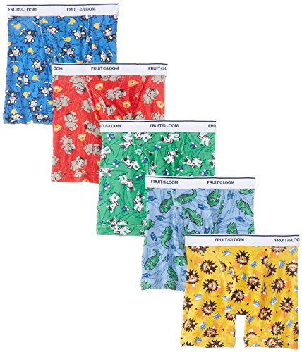 Fruit of the Loom 5Pack Boys Printed Cotton Boxer Briefs Kids Underwear M