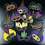 12 Feather Mardi Gras Masks Costume Party Masquarade