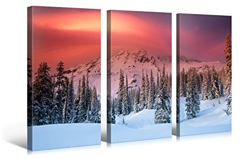 impression gicl e sur toile en grand format winter sky on fire 120x80cm photo sur toile de. Black Bedroom Furniture Sets. Home Design Ideas