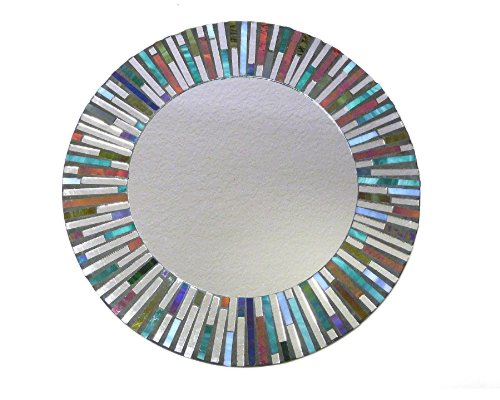 Round Colorful Mosaic Mirror with Sunburst Pattern - 15.5 Inch Diameter New