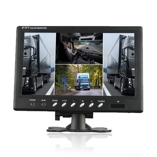 SallyBest® 9 Inch 16:9 HD 4 Split Quad Color TFT LCD Display Monitor 4 Video Input Car Rear View Monitor DVD VCR Camera GPS Headrest Monitor For Car Truck Bus (Split Screen Hdmi compare prices)