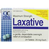 Quality Choice Maximum Strength Laxative 25mg. Tablets 24 Count, Boxes (Pack of 6)