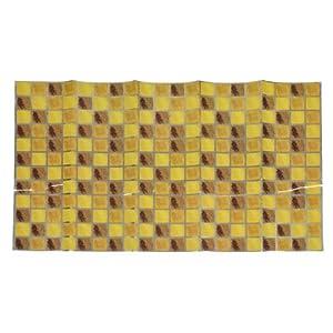 Brown Yellow Checkered Print Kitchen Sheet Wall Decor Sticker 75cm x 45cm