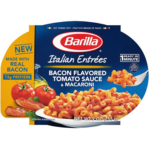 Barilla, Italian Entrees, Bacon Flavored Tomato Sauce & Macaroni, 9Oz Tray (Pack Of 6)