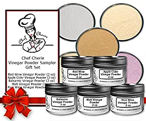 Chef Cherie's Vinegar Powder Sampler Gift Set - Contains 5 2 oz. Tins