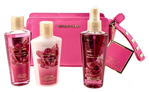 Victoria's Secret discount duty free Victoria's Secret Pure Seduction Set 125ml Parfumee Spray+125ml Bodylotion +125ml Showergel + Handtasche