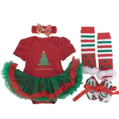 4 Piece First Christmas Baby Girl Outfit Dress by BabyPreg®