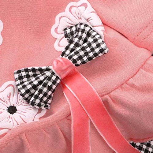 XILALU Kids Girls Long Sleeve Flower Bow Shirt Plaid Pant Set Clothing (1-2Y, Pink)