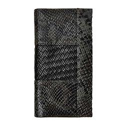 ZLYC Women Genuine Leather Snake Embossed Weave Design Wallet Card Holder Clutch, Black