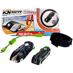 Hot Wheels Year 2012 Video Racer Micro Camera Car Playset With Black Protective Action Case, Black Car With Built In Lcd Screen On Back, Usb Cable, 4 Mounting Brackets, 2 Adhesive Strips And 1 Adjustable Strap (Tracks Are Not Included)