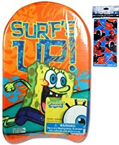 "Spongebob Squarepants Kickboard for Kids (17""x10"") and Spiderman Stickers Set (3""x6"" - 4 Sheets - $3.99 Value) - Spongebob Water Toys for Toddlers, Boys, and Kids - Use with Spongebob Floatation Swim Trainer Life Jackets for Kids"