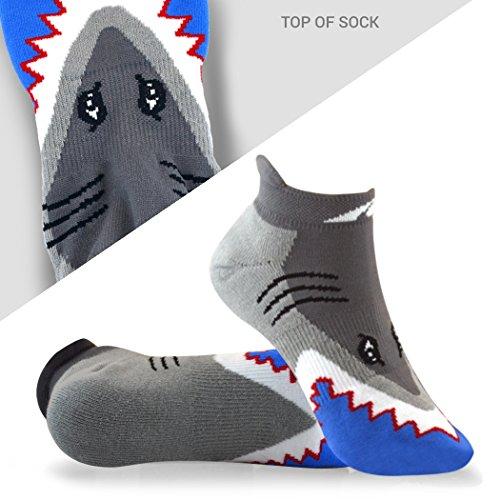 Inspirational Athletic Running Socks   Women's Woven Low Cut   Shark Attack (Shark Socks For Men compare prices)