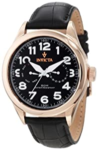 Invicta Men's 11742 Vintage Master Calendar Black Dial Black Leather Watch