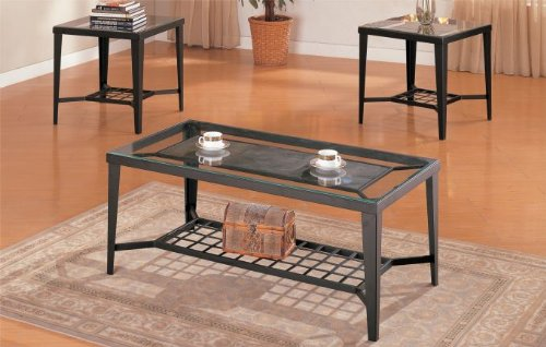 Cheap 3 Pc. Set Metal frame Coffee Table with 2 End Tables 5mm Beveled Top in Espresso Finish (F3086)