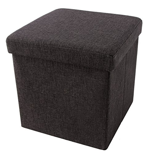 "Songmics Linen-like Storage Ottoman Footrest Storage Chest 14 7/8"" Cube Espresso ULOT10K"