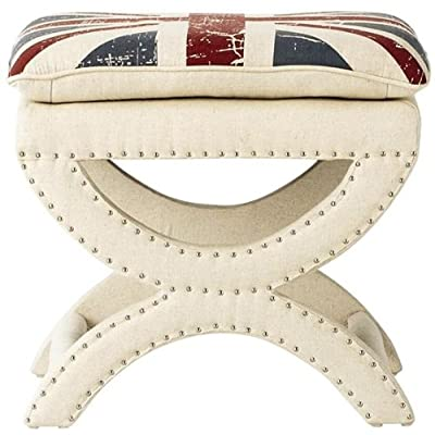 Fantastic Valencia Vanity Stool 19 5Hx22Wx18 5D Unionjack Beige Gmtry Best Dining Table And Chair Ideas Images Gmtryco