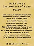 Parchment Style Card Greetings Card 14cm x 10cm Prayer Make Me an Instrument of Your Peace Parchment