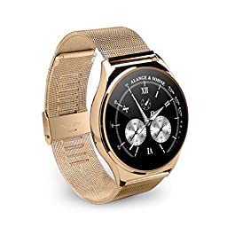 OHPA Z02 Extreme Slim Heart rate monitor HD display Bluetooth Smart Watch with Remote camer and sound for iPhone and Android Smartphones, stainless steel strap, Gold