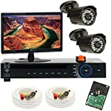 """GW Security Inc 2CHV2 4 Channel H.264 960H & D1 Realtime DVR With 2 X 1/3"""" Sharp CCD Camera 600TVL 3.6mm Lens Security Camera Package, Free Monitor (Black)"""