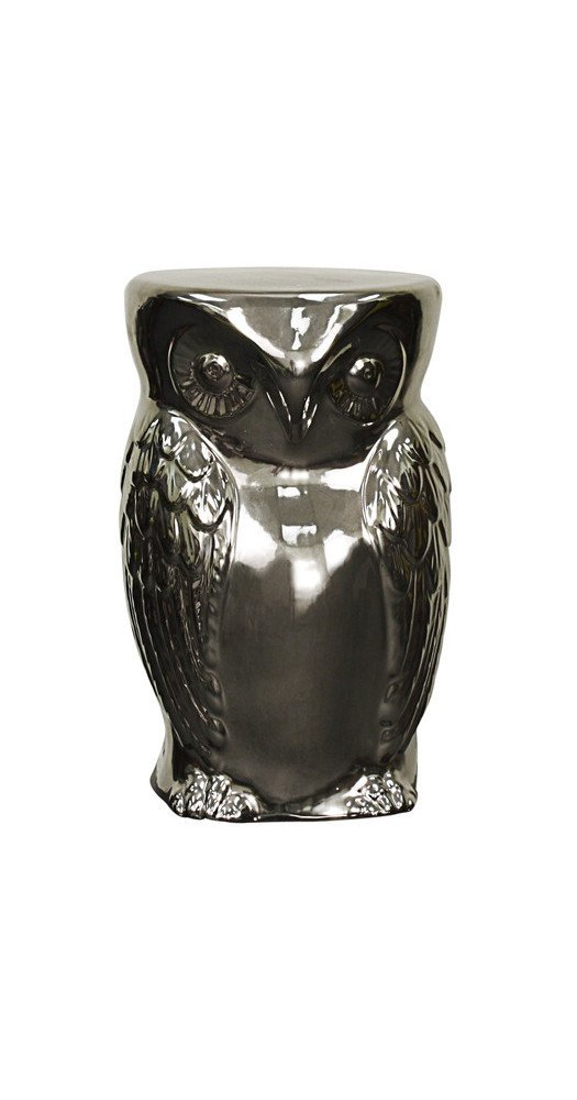 Silver Ceramic Owl Garden Stool by New Pacific Direct