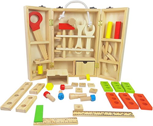 Natural Wooden Toys for Children 2x4 Toys Wooden Tool Box Set - Construction Toys - Kids Tool Set for Boys and Girls - Ages 3+ - (Kid Tool Set With Toolbox compare prices)