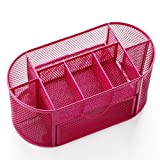 Fashion Colorful Bright Steel Symmetry Style Mesh Fencing Pencil Holder 8 Compartments Desk Organizer (Red)