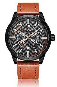 CURREN Men's Sport Military Quartz Display Date Calendar Leather Band Dress Wrist Watch Black Brown