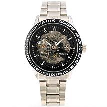 AMPM24 Black Mens Luxury Mechanical Skeleton Stainless Steel Wrist Watch Gift PMW004