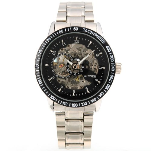 AMPM24 Black Mens Luxury Mechanical Skeleton Stainless Steel Wrist Watch Gift