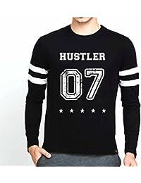 Veirdo Casual Fullsleeve T Shirt With Sports Trim For Men - Hustler 07 (Black)