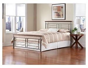 Leggett & Platt Fashion Bed Group Fontane Metal Bed, Full, Silver/Cherry